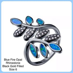 Blue Fire Opal Black Gold Filled Statement Ring 6